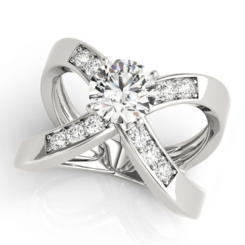 Engagement Ring -Criss Cross X Diamond Open Band Engagement Ring-ES2096