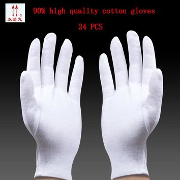 high quality White gloves made of pure cotton labor work thin cotton etiquette reception parade performances of gloves