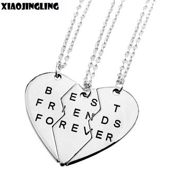 "XIAOJINGLING 3Pcs Set Fashion Friendship Jewelry Broken Heart 3Parts ""Best Friends Forever"" Necklaces&Pendants For Women/Men"