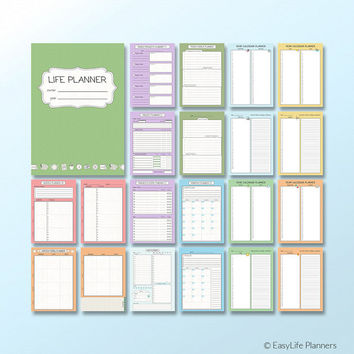 Life Planner A5 Printable Filofax Inserts Colorful PDF Daily Weekly Monthly Yearly Organizer, Menu Planner Project Planner. Instant Download