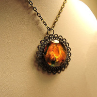 Wearable Art, Truly Unique One of a kind Pendant Hand Painted 3d Artwork crystal glass filigree bronze Necklace Alcohol ink Abstract organic