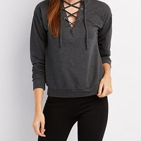 French Terry Lace-Up Sweatshirt