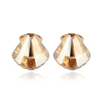YCJ Women's Rhodium Plated Alloy Earrings: Big Seashell Theme Color Champagne