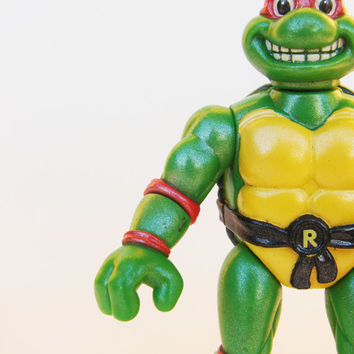 Vintage Raphael Teenage Mutant Ninja Turtle TMNT Action Figure 1992 Swiveling / Turning Head Doll Signed Mirage Studios Playmates Toys Green
