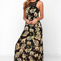 O'Neill Moore Black Floral Print Maxi Dress