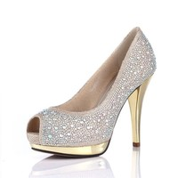 MP Rhinestone Peep Toe Pumps Party Heeled Leather Shoes 042406 SDP 0603