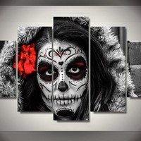 Dead Face Beauty 5-Piece Wall Art Canvas