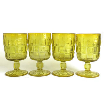 Ashley Citron Yellow Goblets by Viking Art Glass, Country Craft by Viking, Yellow Water Goblets, Rare Collectible Glass, Set of Four