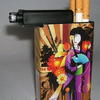 Cigarette Case Geisha Girl with Built on Lighter Holder