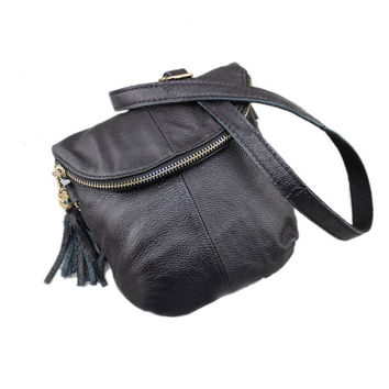 New Fashion Women's Shoulder Messenger Bag Genuine Leather Vintage Crossbody Flap Zippered Casual Pouch Purse