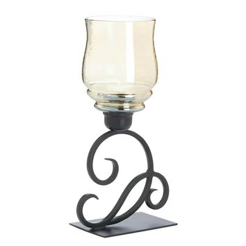 Iron And Iridescent Glass Hurricane Candle Holder Lantern