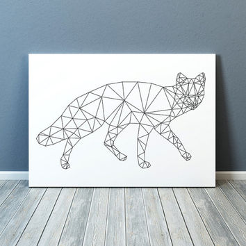 Geometric fox print Line art Animal poster Minimal decor TO322