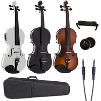 Cecilio Acoustic Electric Violin Ebony Fitted ~Natural Wood, Black or White