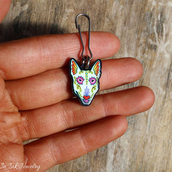 Bull Terrier - Collar Charm / Key Chain / Zipper Pull - Day of the Dead Sugar Skull Dog