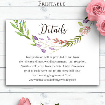 Bohemian Wedding Details Template, Personalized Wedding Insert Card,Printable Details,Wedding Details Card,Wedding Info,Rustic Wedding Cards
