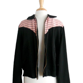Vintage 1950s Mens Jacket Black with Pink Striped Pattern Collared with Zippered Front Gabardine Fabric - Sir Jac - Rockabilly Style