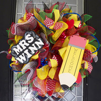 Teacher Wreath, Teacher Gift, Teacher Appreciation, Door Hanger, Deco Mesh Wreath, Personalized Gift