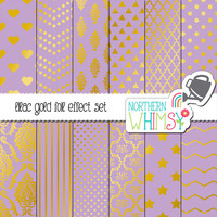 Lavender Purple and Gold Digital Paper Pack – gold foil effect papers for scrapbooking, invitations, cards, etc – instant download – CU OK