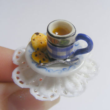 Choc Chip Cookies and Coffee Miniature Food Ring - Miniature Food Jewelry