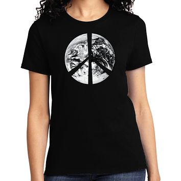 Buy Cool Shirts Ladies Peace T-shirt Earth Satellite Symbol Tee