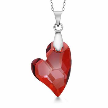 """Devoted 2U Red Magma Heart Pendant on 18"""" Chain Created with Swarovski® Crystals"""