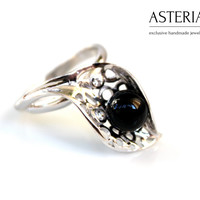 Agate ring - Leaves ring - Leaf ring - Delicate ring - Oval Gemstone ring - Black gemstone - Agate Silver ring