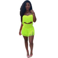 Women Sexy Two Piece Tassel Neon Tank Crop Top Skirt Set