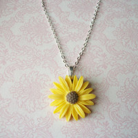 Handmade Yellow Daisy Sunflower Necklace