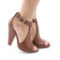 Speakup Peep Toe T-Strap Cut Out Block Heeled Sandals