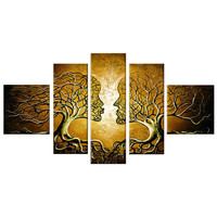 Yellow Human Tree Connection Landscape Canvas Wall Art Oil Painting