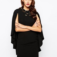 Forever Unique Embellished Pencil Dress with Cape