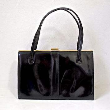 1960's Purse - Faux Patent Leather - K Handbags - Black Vintage Handbag - Goldtone Metal Elbief England Frame