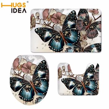HUGSIDEA Custom Butterfly Print Toilet Seat Cover Round Mat 3 Piece Set Warmer Soft Bathroom Carpet Bath Toilet Accessories Set