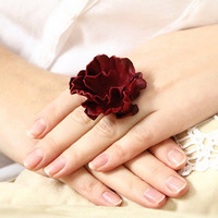 red burgundy flower leather ring