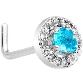 "20 Gauge 1/4"" Clear Blue CZ Gem Round Double Tier L Shaped Nose Ring"