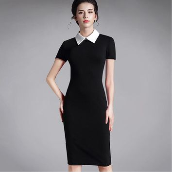 plus size women clothing vintage red black women business office long sleeve casual Bodycon winter Dress Pencil 751