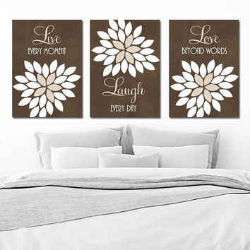 Live Laugh Love Wall Art, Brown CANVAS or Prints, Brown Bedroom Pictures, Brown Bathroom Quotes Decor, Flower Wall Decor, Set of 3 Artwork