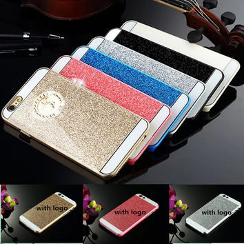 New Luxury Bling glitter Hard PC Case For iphone 4 4S 5 5S SE 6 6s 7 7 plus  phone shell Back Cover coque cases with logo fundas