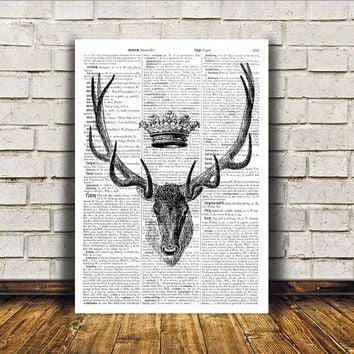 Deer art Stag poster Dictionary print Wall decor RTA127