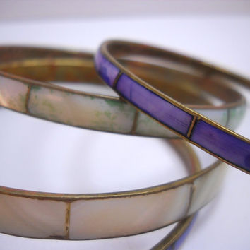 Vintage Bangle Bracelet Set of 4 Mother of Pearl 1970s