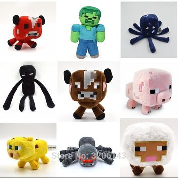 Minecraft  16-24cm Enderman JJ Ghast Ocelot Zombie Skeleton Mushroom Wolf Sheep Squid Cartoon Plush Stuffed Animal Toys