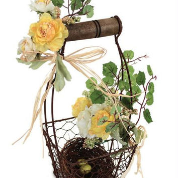 6 Floral Baskets - Each Features A Bird's Nest