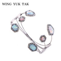 WingYukTak Brand Lucky Bracelets Trendy Silver Colour Acrylic Geometric Open Cuff Bangle Women Jewelry Hot Sales 0703