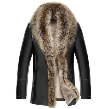 M-5XL 2018 Winter New Men Leather Jacket Lambswool Genuine Leather Coats Thicken Fur Collar Jaqueta Masculino Plus Size clothing