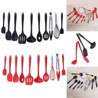 10pcs/set Kitchen Utensils Set Silicone Cooking Utensil Non-stick Spatula Ladle Slotted Spoon Tongs Pasta Fork Cooking Tools