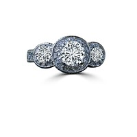 2 CT. Intensely Radiant Round Diamond Veneer Cubic Zirconia (Center 1.5 CT) Three Stones Milgree Vintage Style Engagement/Wedding Sterling Silver Ring. 635R13588