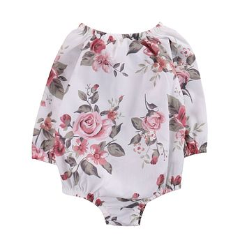 Spring Autumn Floral Long Sleeve Infant Baby Girl Kid Romper Jumpsuit Cotton Outfit Sunsuit