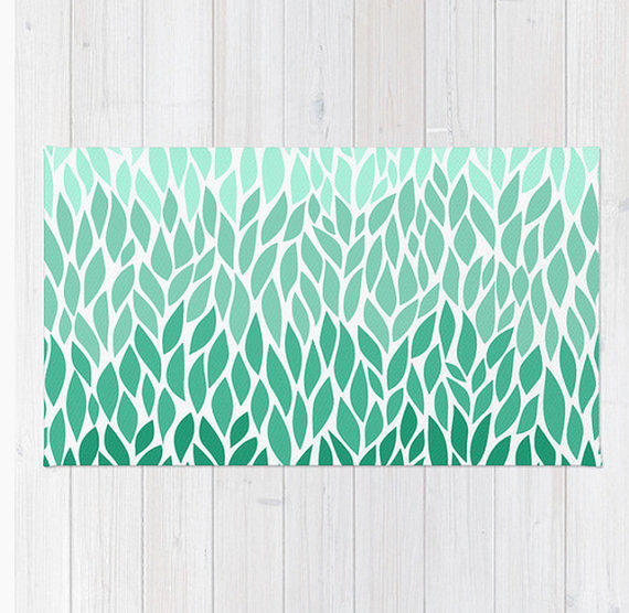 Area Floor Rug Teal Lucite Green Ombre Leaf Design Mint Aquamarine Design  Pattern Throw Woven Rectangle