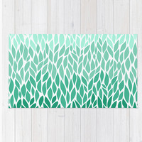 Area Floor Rug Teal Lucite Green Ombre Leaf Design Mint Aquamarine Design Pattern Throw Woven Rectangle Modern Home Decor