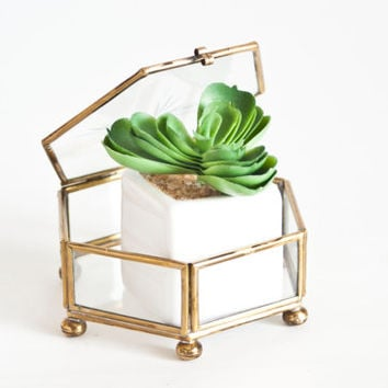 Vintage Brass and Glass Hexagon Box Display Case, Geometric Prism Trinket Container Jewelry Holder Ring Box